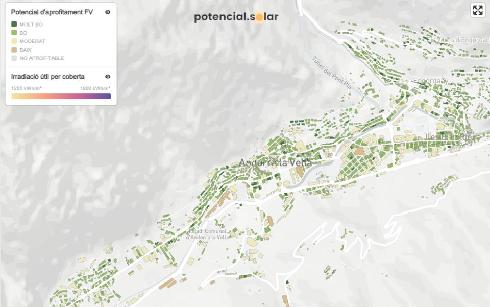 'potencial.solar', la nova eina digital per conèixer el potencial solar de les teulades del país